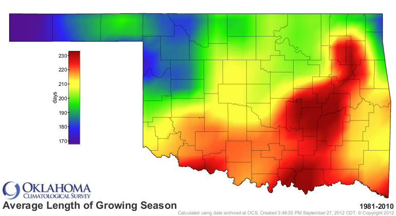 Average length of growing season