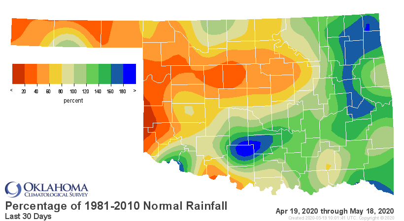 Percentage of Normal Rainfall, Last 30 Days