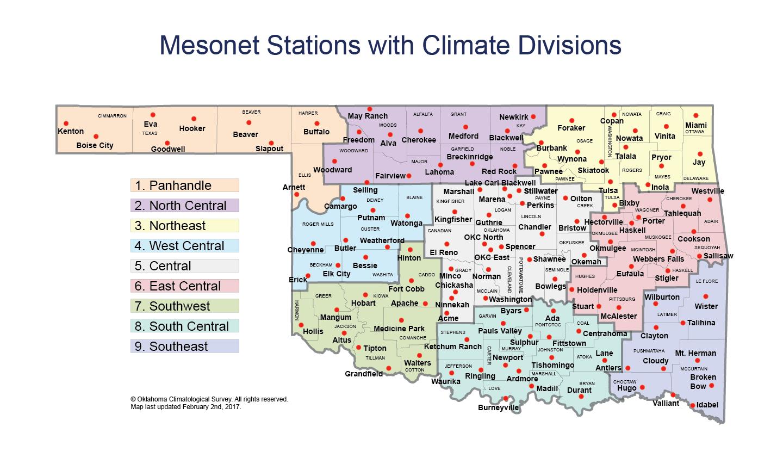 Jay Oklahoma Map.Oklahoma Climatological Survey Map Of Oklahoma Climate Divisions